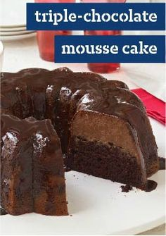 Triple-Chocolate Mousse Cake -- Live the triple-chocolate dream with this dessert. An ingeniously easy recipe yields an airy mousse layer atop rich, moist cake for a luscious way to please a crowd.