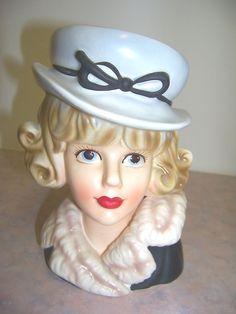 Relpo K1835 Lady In Hat & Fur Coat Head vase 7 Inch
