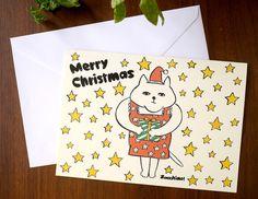 なぜかうつろな顔をした猫のクリスマスカードです。※カードは二つ折りタイプ、封筒付き【サイズ】タテ19cm×ヨコ13.5cm|ハンドメイド、手作り、手仕事品の通販・販売・購入ならCreema。