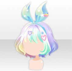 Pop Easter Party Bob Cut Ribbon Hair ver.A white Anime Hair Color, Chibi Hair, Manga Hair, Kawaii Hairstyles, Fat Art, Hair Sketch, Cocoppa Play, Hair Reference, Fashion Design Drawings