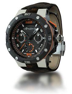DeNovo DN2020-22NOM Men's Watch Swiss Made Orange Accent Chrono Brown Italian Leather Strap