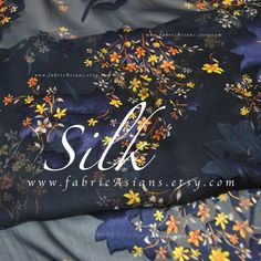 Navy Blue silk Chiffon yellow little flowers fabric Width Sewing Patterns Free, Fabric Patterns, Little Flowers, Diy Dress, Blue Fabric, Silk Chiffon, Blue Fashion, Sewing Hacks