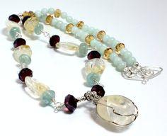 Citrine, Aquamarine, and Crystal Necklace N1143, $36