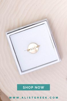Kappa Kappa Gamma Greek letter engraved ring from www.alistgreek.com! Available in Sterling Silver, Rose Gold and Gold in 3 different ring sizes. #sorority #jewelry #rings #circle #circlering #disc #greek #letters #bidday #biglittle #recruitment #sororityletters #graduation #kappakappagamma #kkg #kappa