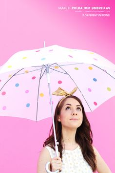 For May showers: DIY polka dot umbrellas.