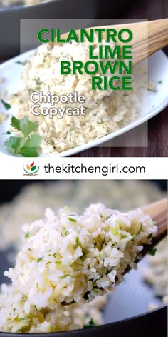 Make your own Cilantro Lime Rice in 10 minutes with cooked white or brown rice, fresh cilantro, and fresh lime juice Chipotle Rice Recipes, Cilantro Lime Brown Rice, Healthy Rice Recipes, Healthy Side Dishes, Healthy Meals For Kids, Side Dish Recipes, Mexican Food Recipes, Vegetarian Recipes, Health Desserts