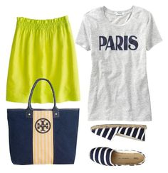 """""""Outfit Planning - blues and yellows"""" by mygirlyarmour ❤ liked on Polyvore featuring J.Crew, Old Navy, Tory Burch and Gap"""