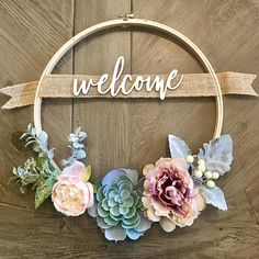 Front Door Wreath - Custom Succulent Wreath with Family Name - Personalized Gift - 12in Embroidery Hoop Wreath - Farmhouse Decor - Rustic Decor This custom 12 inch, wreath features a pretty combination of faux succulents and flowers and it is personalized with your family name or a
