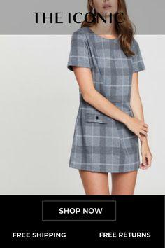 1af8a581111 Blue Check Short Sleeve Double Pocket Dress | Clothes | Dresses, Red ...