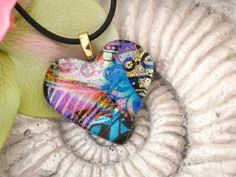 Heart Necklace  Dichroic Fused Glass Jewelry Golden by ccvalenzo, $24.00