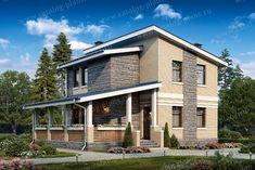 Проект жилой дом #48-20 материал - кирпич, стиль современный Parthenon, My House, Cabin, How To Plan, Mansions, Architecture, House Styles, Outdoor Decor, Projects