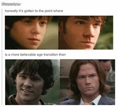 This is some excellent casting if you ask me. The change between Jared then and Jared now reflects the change from Sam in season one to the current Sam
