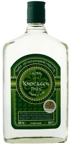 Knockeen Hills Poteen. This is pretty much Irish moonshine and can be up to 90 percent ABV. I'm scared but intrigued. Poteen was illegal in Ireland for centuries.