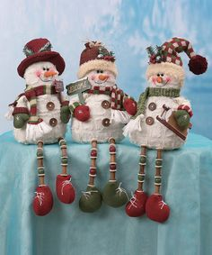 Take a look at this Button Plush Snowman Shelf Sitter Set by Transpac Imports on #zulily today!