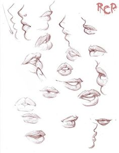 lip study-the fourth one from the top left looks a bit like how Zelda C Wang draws.....