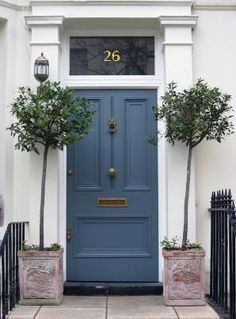 gray blue door