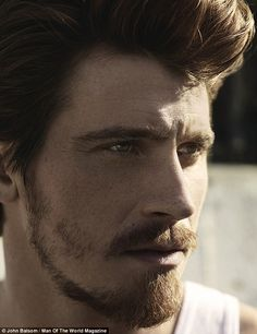 Masculine edge: The heartthrob is sporting more facial hair recently, which was groomed to...
