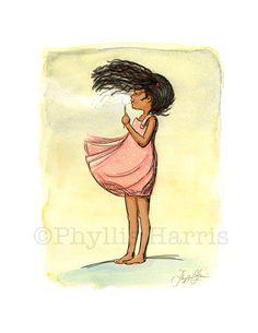 Children's Wall Art - African American Dandelion Girl - Nursey Wall Art- Customizable Dress Color