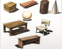 Different colours and line strokes used to create different appearances of wood. Numerous shades and colours used for each timber look. This helps to demonstrate the grain and texture of the wood. Drawing Interior, Interior Design Sketches, Industrial Design Sketch, Interior Rendering, Diy Barbie Furniture, Furniture Sets, Furniture Design, Refurbished Furniture, Wicker Furniture
