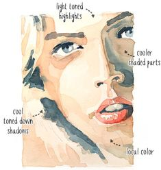 Skin Color Paint Watercolour Tattoos 32 Ideas For 2019 Watercolor Portrait Tutorial, Watercolor Portrait Painting, Watercolour Tutorials, Watercolor Techniques, Portrait Art, Painting Portraits, Watercolor Artists, Painting Art, Watercolor Skin Tones