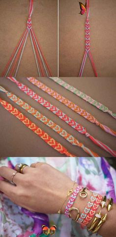 DIY Bracelets That Make Cute Friendship Bracelets | DIY Projects  <br> Check out this roundup of DIY bracelets and learn how to make your own from an easy-to-make heart bracelet to DIY beaded bracelets! Heart Friendship Bracelets, Friendship Bracelets Tutorial, Friendship Bracelet Patterns, Bracelet Tutorial, Heart Bracelet, Friendship Art, Star Necklace, Chevron Bracelet, Macrame Tutorial
