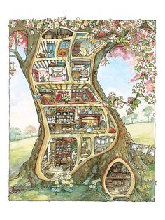 Print pigment quality art gallery on nice thick paper Perfectly resistant to light and meant to be exposed. Exceptional reproduction of the poster Treehouse, Brambly Hedge illustration of Jill Barklem - fine art gallery Art And Illustration, Book Illustrations, Brambly Hedge, Art Graphique, Beatrix Potter, Fine Art Gallery, Illustrators, Fantasy Art, Fairy Tales