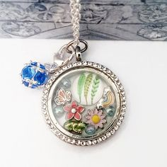 Nature Themed Floating Charm Locket, Origami Owl Locket, Nature Living Memory Locket, Rainbow Flower Butterfly Frog Feather Floating Charm