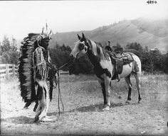 Nez Perce named Charlie Wilpoken with spotted horse, Colville Indian ...