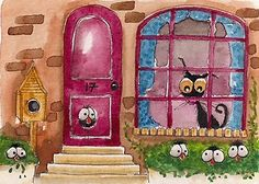 Stressie cat looks on as the crows make themselves at home in the garden... Enjoy!