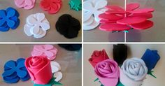 Este bonito proyecto DIY es tan sencillo y original que todo el mundo querrá hacerlo... ¡Flores de goma eva! Flower Template, Baby Shower, Diy, Rose, Ideas, Kids Church Decor, Craft, Paper, World