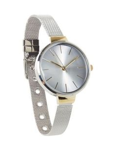 Silver Oversized Dial Mesh Strap Watch  | New Look