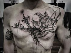 60 Amazing Wolf Tattoos - The Best You'll Ever See - Page 4 of 6 - Straight Blasted E Tattoo, Chest Tattoo, Get A Tattoo, Wolf Tattoos, Black Tattoos, Tatoos, Great Tattoos, Tattoos For Guys, Witcher Tattoo