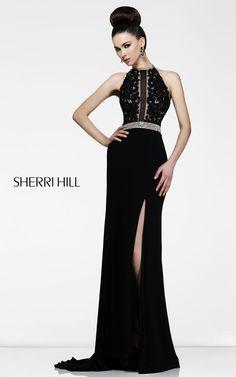 Black Sherri Hill 21210 Lace Top Prom Dress