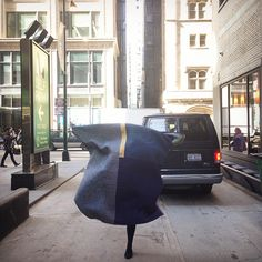 """Artist Heidi Parkes in downtown Chicago with her quilt, """"Night and Day."""" #art #quilt"""