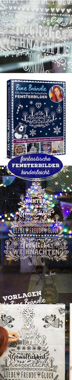 Vorlagen von Bine Brändle für fantastische Fensterbilder. So ist das Malen am Fenster mit dem Kreidemarker kinderleicht und das Ergebnis ist einfach genial! Bringe mit Hilfe der Vorlagen eine super tolle Deko auf deine Fensterscheiben. Ein Kranz, Ranken, Motive für Winter und Weihnachten,Tannenbaum, Schneesterne, Handlettering... die tollen Illustrationen ganz locker am Fenster ab pausen. Tipp: nimm es nicht zu genau, es sieht immer prima aus. Ein kreativer Spaß für die ganze Familie!