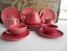 Hey, I found this really awesome Etsy listing at https://www.etsy.com/listing/179539584/vintage-1920s-pink-leaf-majolica-childs