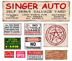 1:25 G scale model Supernatural Bobby Singer's auto salvage junkyard signs