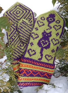 Ravelry: Colorcat Mittens pattern by Connie H Design H Design, Mittens Pattern, Knit Patterns, Ravelry, Gloves, Knitting, Woman, Hands, Knitting Stitches
