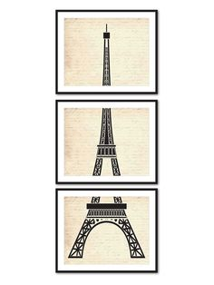 Vintage Art Print - Eiffel Tower Wall Art Set of Three Prints - Paris, France - Wall Art Trio - Room Decor - vintage, French Script