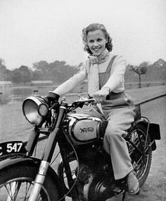 An poster sized print, approx (other products available) - 23 year old London-born film actress Honor Blackman riding her Norton Big Four motorcycle through Hyde Park in London. - Image supplied by PA Images - Poster printed in the USA Moto Norton, Norton Motorcycle, Motorcycle Girls, Classic Motorcycle, Motorcycle Design, British Motorcycles, Vintage Motorcycles, Cars Motorcycles, Biker Chick