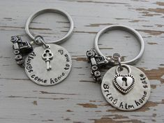 Trucker family key chain pair  bring him by WhisperingMetalworks