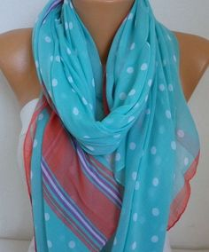 Cotton Polka Dot Soft ScarfTeacher Gift Summer Shawl by fatwoman