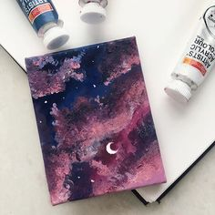 cute paintings , ninaeyu Not a journal spread but i tried to paint the sky even tho its not the best i Cute Canvas Paintings, Small Canvas Art, Mini Canvas Art, Acrylic Painting Canvas, Abstract Canvas, Acrylic Art, Diy Painting, Trippy Painting, Star Painting