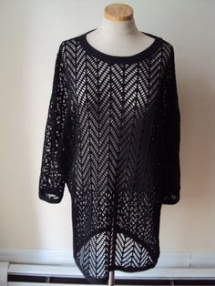 VTG 80s Black Fishnet Oversized Tunic Shirt by nanapatproject, $38.00