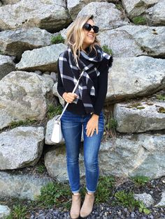 black tee, check scarf, skinny jeans, taupe suede booties