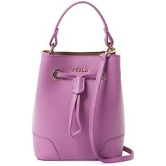 Furla Women's Stacy Mini Leather Bucket Bag - Purple (£135) ❤ liked on Polyvore featuring bags, handbags, shoulder bags, purple, purple leather purse, mini handbags, mini purse, leather purses and drawstring bucket bag