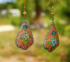 Rare-old-glass-Plique-a-jour-glass-mosaic-drop-pierced-EARRINGS-small-chip