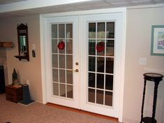 Interior Glass French Doors Installed By Kelley Carpentry