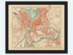 Old Map of Geneve Geneva Switzerland 1908 - product image