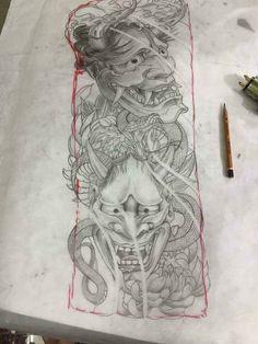 Tattoo Hannya Mask Tattoo, Hanya Tattoo, Japanese Demon Tattoo, Japanese Sleeve Tattoos, Asian Tattoos, Leg Tattoos, Tattoo Sketches, Tattoo Drawings, Hannya Maske